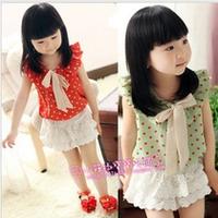 Children's clothing female child dresses set 2013 summer sleeveless polka dot chiffon top lace short culottes