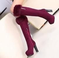 High quality scrub velvet rabbit fur wool boots tyranids coarse high ultra high heels platform shoes women's martin boots