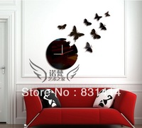 Black Butterfly Wall Stickers Mirror Round Wall Clock Home Decoration Wall Clock Free Shipping