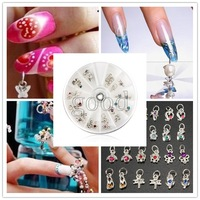 24pcs Metal Rhinestone Nail Art Tips Pendant Manicure Decorate Dangles Rings Decorations Wheel