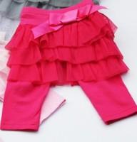 Newest 2013 baby girls hot pink pantskirt clothing kids lace layered pantskirt toddlers elatic pant free shipping