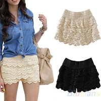 Hot Women's Lace Anti-Emptied Sweet Crochet Tiered Shorts Skirts Pants Short Trousers Free Shippoing