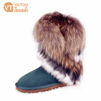 New arrival fox fur snow boots scrub genuine leather tassel knee-high female shoes cow muscle outsole