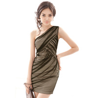 2013 summer elegant black gauze sexy nude color style oblique party formal dress one-piece dress