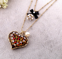 Fashion jewelry crystal heart gem ball short design double layer necklace female