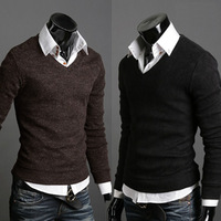 2012 slim sweater thin sweater male V-neck autumn sweater outerwear men's clothing free shipping
