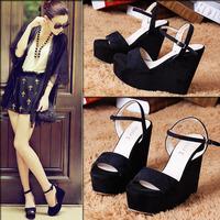Stilletto sapatos fashion wedges sandals black women's platform high-heeled plus size Zapatos Sandalia  Femininas con Plataforma