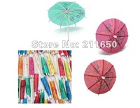 Free shipping, NEW Multicolor Paper Tropical Hawaiian Cocktail Drink Parasol Umbrella Party