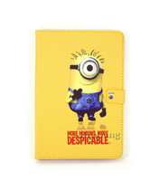 Wholesale Cute Cartoon Despicable Me Minions Flip Magnetic Stand Leather Cases Smart Cover For Apple Ipad Mini Handbag Bag