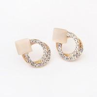 Min.order is $15(mix order)Factory price,Korean  temperament bright Opal Stud Earrings