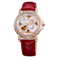 Time and space skone watch women's fully-automatic mechanical watch four leaf clover cutout ladies watch rhinestone table