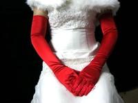 Lengthen satin the bride wedding gloves long design 58cm sunscreen gloves