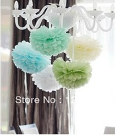 "Free Shipping 10pcs 4""(10cm) Tissue Paper Pom Poms Wedding Party Decor Craft festival decoration"