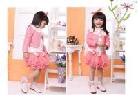 Retail 2015 new girls autumn 3pcs sets of Korean version small jacket + lace shirt + tutu skirt Free Shipping