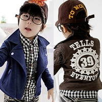 New 2013 autumn oblique zipper boys clothing baby fleece jacket outerwear free shipping