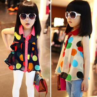 [5 Piece/Lot] 2014 Summer Girl's Chiffon Sleeveless Shirt Childern's Casual Cute Dresses Kid's T-shirt Wholesale GDW003