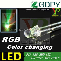 High quality 3MM RGB dip led automatic slow flashing led 3.2-3.4V(CE&Rosh)