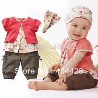 328 wholesales 3sets/lot  3 pcs/set pink top+brown short pants + headband/ Baby girl suit/Free shipping
