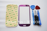 Freeshipping Purple Color Galaxy S3 SIII Touch Outer Glass Lens Screen For Samsung i9300 Replacement+Tools+Adhesive