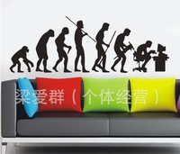 FREE Shipping 2013 New Large Size Human Evolution Wall Decor 60*90cm Environmental PVC Wall Stickers