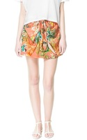 Free Shipping Fifth avenue za6 trf print cage skirt bow elastic waist lacing fancy bust skirt short skirt