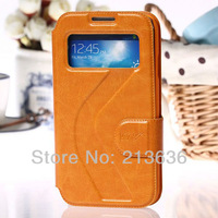PU Leather Case Cover With view window For Samsung Galaxy SIV S4 i9500 9500 with Magnet Clasp Free Shipping