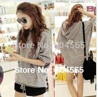 2014 New Fashion Hooded Hoodies For Women Loose Sweatshirts Half-Sleeve Pullovers HO-076