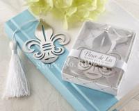 New  Arrival Party supplies  24  PCS  Fleur-de-Lis Metal Bookmark Favors with Elegant White-Silk Tassel Wedding favors