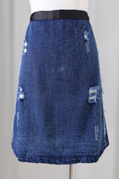 Water wash retro finishing hole denim skirt
