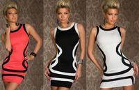 Sexy White/Black Black/White Salmon Red /Black Trims tank Dress Ball Party Disco Wear Bodycon Clubwear Free Shipping