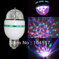 3W E27 mini party light RGB 3 LED Led Colorful Rotating Spot Crystal Light Bulb Lamp Christmas XMAS Party