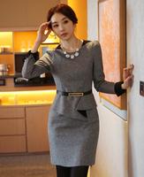 Free Shipping!Quality Brand 2014 Spring  Autumn New Profession OL Slim Long Sleeve Woolen Dresses.Plus Size Women's XL-XXL-XXXL