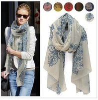 women's vintage blue and white porcelain scarf silk scarf air conditioning sun cape  2013!Thin Section the Silk Floss Shawl.