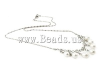 Free shipping!!!Freshwater Pearl Brass Chain Necklace,fashion brand, Cultured Freshwater Pearl, with Rhinestone & Brass
