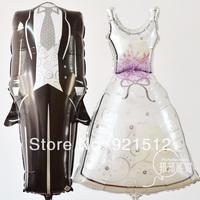 Free shipping! Fashion 2pcsset Anagram Foil Balloon Wedding Dress the bride and bridegroom Balloon Wedding party decoration