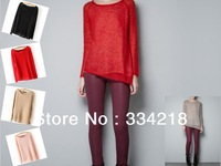 New arrival 2013 autumn women's Fashion Pullover O neck irregular hem long-sleeved wool sweater  4 colors  13A0105