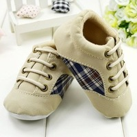 Wholesale 6pairs/Lot Stripe Plaid Pattern Lace Up Baby Boys Casual Shoes First Walkers Footwear Kids Shoes Khaki Brown Color