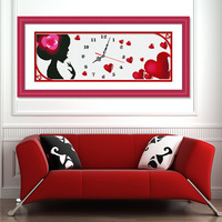 Print cross stitch kit w114 wall clock table love paintings big picture 83*33CM