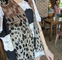 Free Shipping 2013 New Fashion 158x46cm Leopard Print Designer Chiffon Scarf Women Long Georgette Silk Scarf
