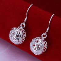 Free shipping lowest price wholesale for women's 925 silver earrings 925 silver fashion jewelry hollow ball drop Earrings SE100