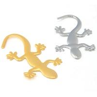 3D Car Auto Silver Wall Gecko/House Lizard Emblem Badge Decal Sticker 21034-21035