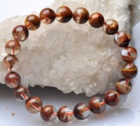 10mm Pure natural Brazil Red ghost Crystal Bracelet Free shipping JB0006#