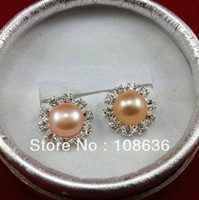 Free Shipping 7-8mm Freshwater Pearl Classic Vintage Ear Clip Silver Plated Flower Shape Clip Earring