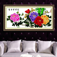 Print cross stitch kit h293 steadily peony flowers rich bamboo 127*59CM