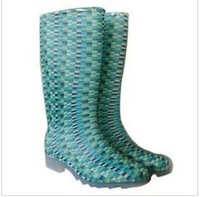 Aquaball gaotong transparent blue mosaic women's rainboots rain boots water shoes rain shoes rubber shoes