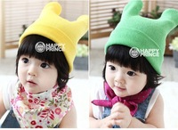 M200 Free Shipping! 2013  The Latest Candy Color pure cotton oxhorn children hats kids winter knitted caps 10 pcs/lot