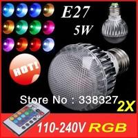 2X  E27 RGB LED Lamp  5W AC110-240V led Bulb Lamp with Remote Control multiple colour led lighting free shipping