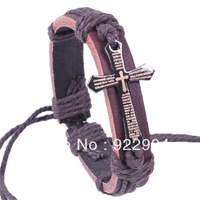 Free Shipping (12pcs/lot),Genuine leather double cross bracelet men's leather bracelet chocolate color hot sale