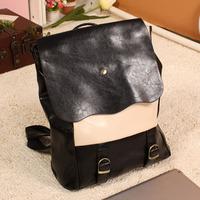 Backpack women's handbag general student bag school bag work bag small fresh black and white color block