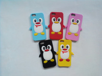 3D Cartoon Cute Penguin club siliocne case for iphone 5 5G